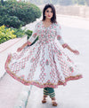 White & Pink Anarkali Kurta with Sage Pants