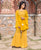 Mustard Yellow Hand Block Printed Kurta Set with Detachable Georgette Jacket