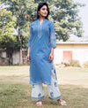 Straight Sky Blue & White Kurta