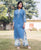 Straight Sky Blue & White Kurta ( 1 Pc. )