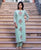 Mint Green Straight Long Kurta with Printed Pants