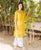A Cut Yellow and White Kurta ( 1 Pc. )