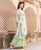 White and Green Hand Block Printed Kurta with Layered Palazzo