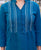 Turquoise and White Handloom Kurta Set