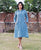 Blue Hand Block Printed Shirt Dress