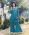 Blue Block Printed and Embroidered Frill Kurta with Sharara