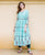 Powder Blue Hand Block Printed Tiered Kurta Set