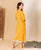 Yellow Hand Block Printed Angrakha Dress