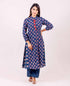 Indigo A Line Block Printed Stand Collar Kurta with Pleated Palazzo