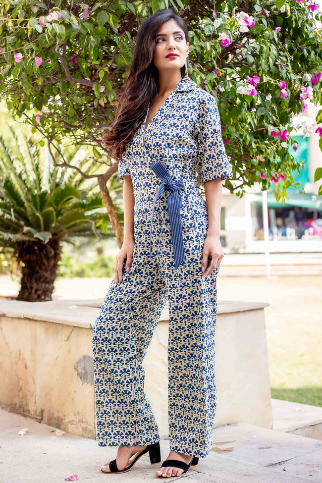 5db4a8bf7c48 Indigo Blue Block Printed Cotton Jumpsuits for women online with pocket