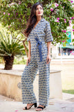 Indigo Blue Block Printed Cotton Jumpsuits for women online with pocket