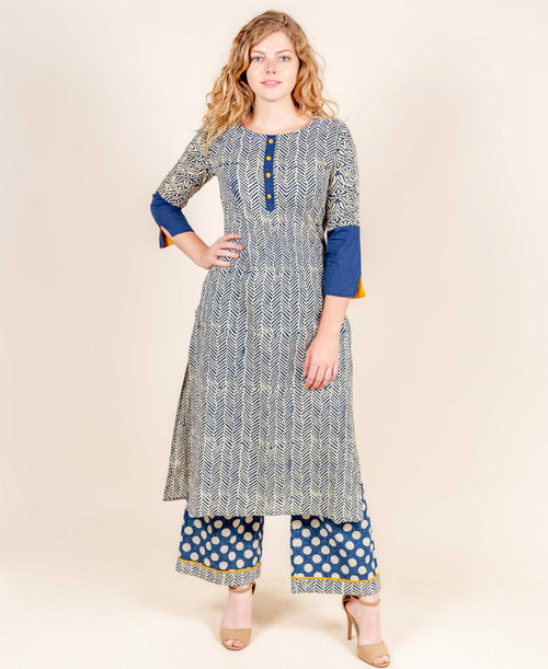 Indigo Chevron Block Printed Straight Kurta With Palazzo