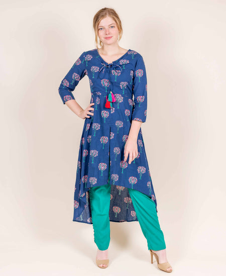 Navy Blue Hand Block Printed and Cape Kurta