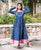 Indigo Long Flared Dress with Churidaar Sleeves online