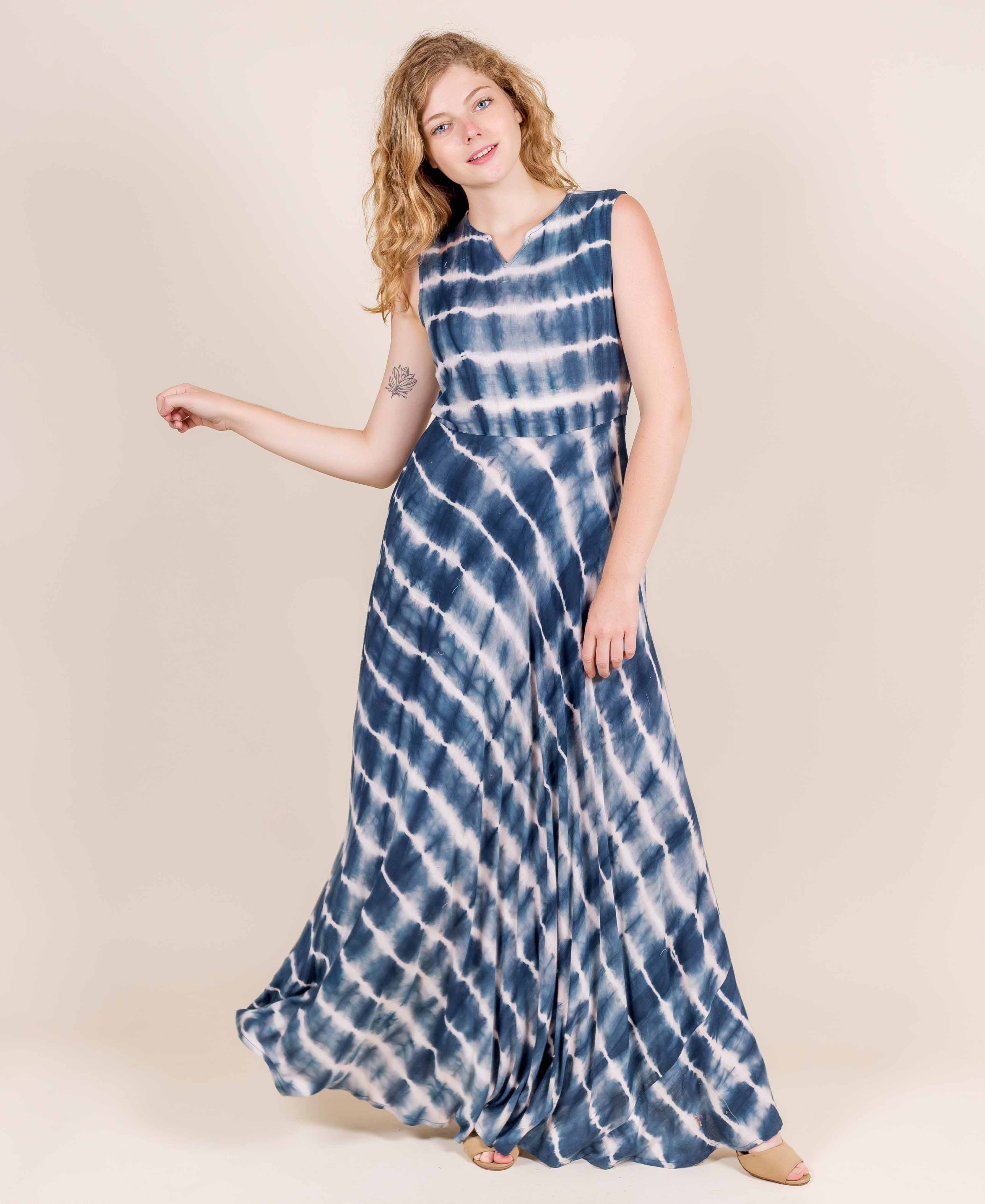 Indigo Tie and Dye Empire Cut Maxi Indo Western Dress