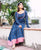 Indigo and Pink Long Flared Dress with Churidaar Sleeves