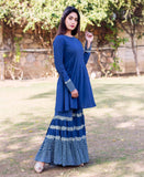 Indigo and White Printed Sharara for women online shopping