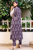 Indo Western 3 Piece Long Cotton Kurti with Pants and Jacket for Women