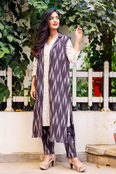 Indo Western 3 Piece Suit Set with Long Kurta and Jacket Online
