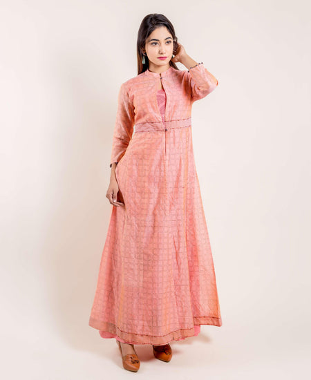 Pink Chanderi Kurta with Hand Block Printed Skirt