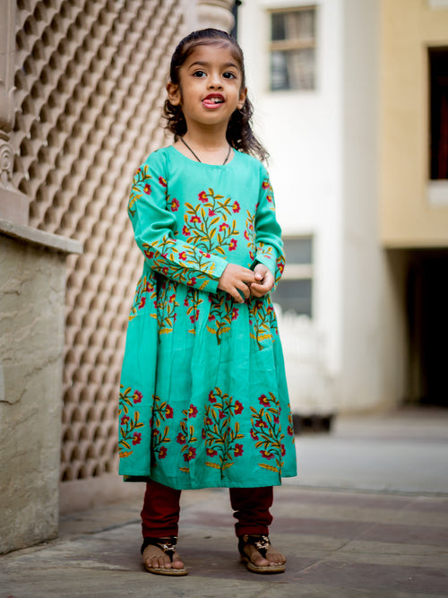 Crew Neck Cape Anarkali Style Indo Western Dress For Baby Girl