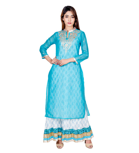 Blue & White Embroidered Indo Western Chanderi Jacket Dress