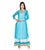 Turquoise Hand Block Printed Floor Length Indo Western Dress for Womens