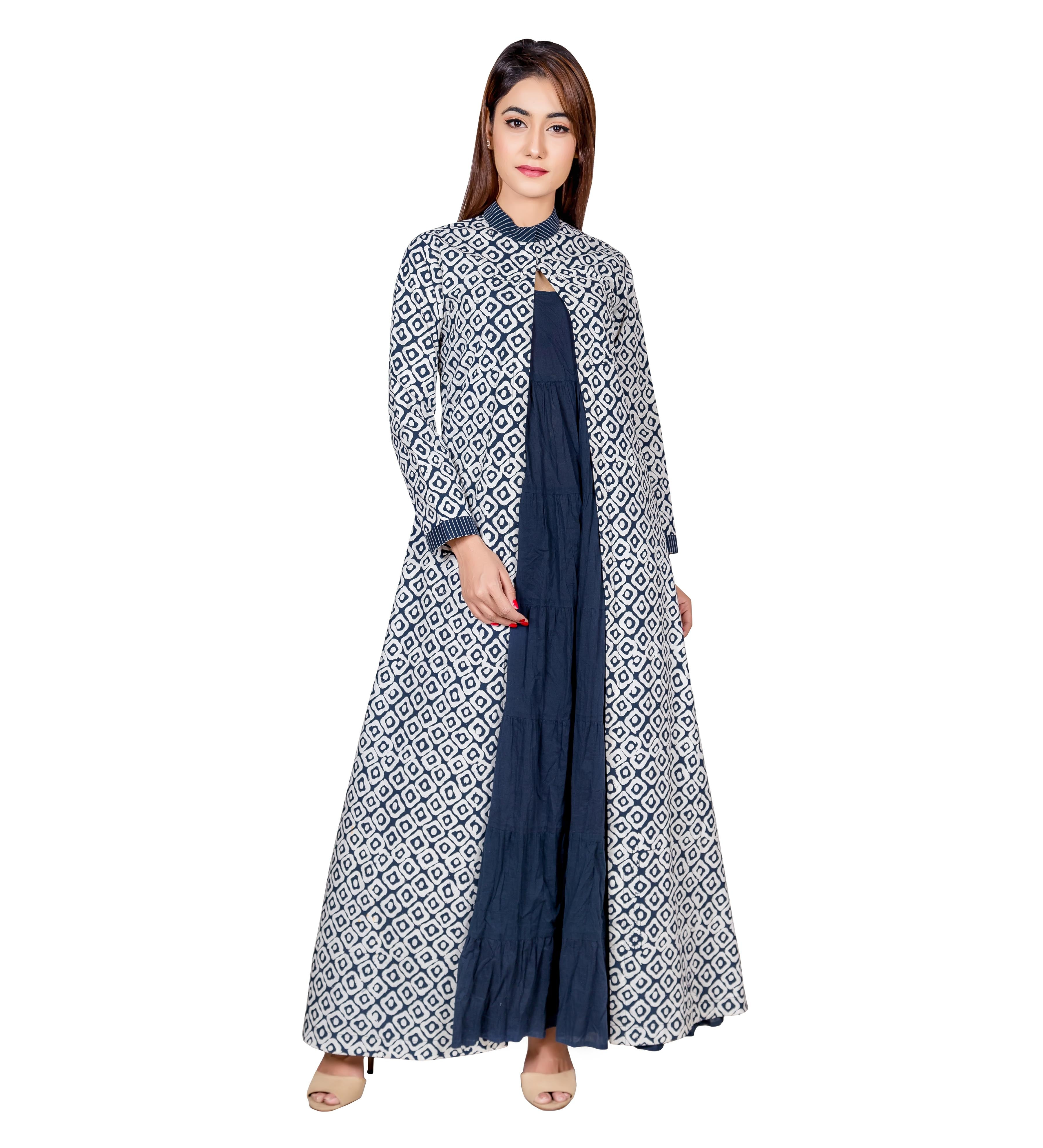 934df69aca4 Blue   White Hand Block Printed Indo Western Long Jacket Dress ...