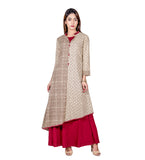 Hand Block Printed Indo Western Long Dress with Asymmetrical Kurta