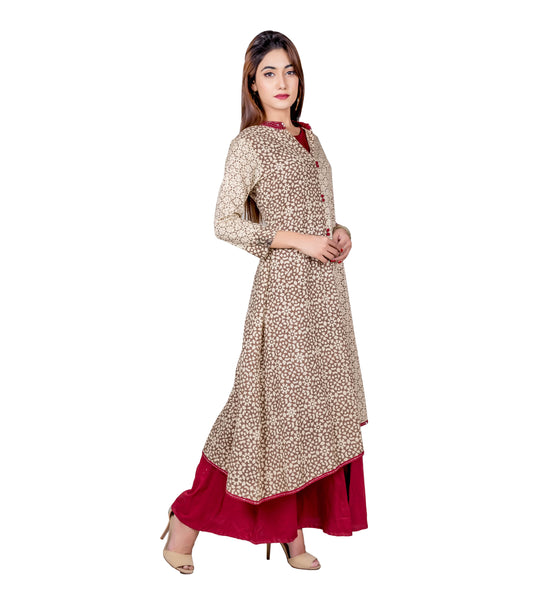 Beige and Maroon Indo Western Style Long Dress with Asymmetrical Kurta