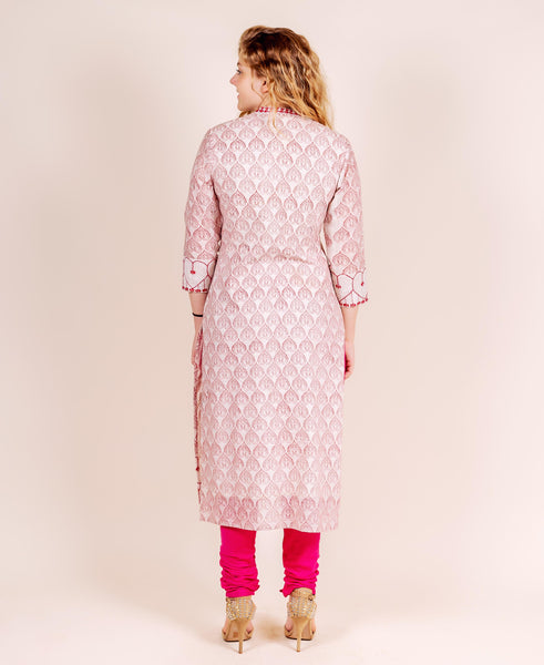 White and Red Hand Block Printed and Embroidered Kurta