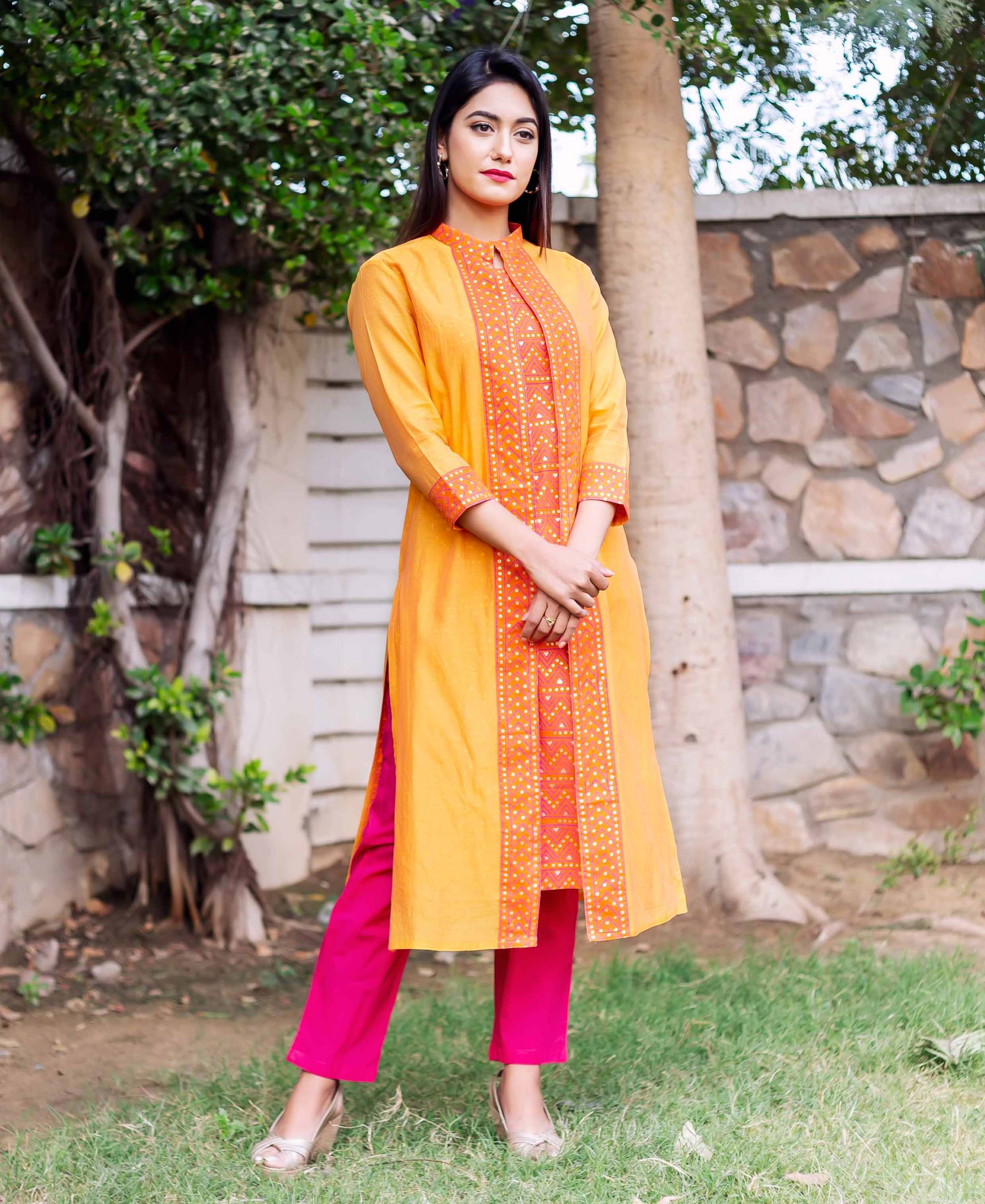 ace0924d8 Mustard Double Layered Block Printed Kurta with Attached Jacket ...