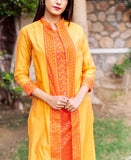 Mustard Double Layered Block Printed Kurta with Attached Jacket