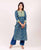 Mint Green and Indigo Straight Cut Kurta ( 1 Pc. )