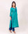 Teal and Indigo Straight Kurta with Solid Trim ( 1 Pc. )