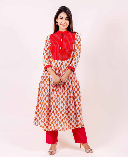 Blue Hand Block Printed High Low Indo Western Kurti