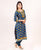 Indigo and Yellow Hand Block Printed cotton Kurta with Detailed Neckline