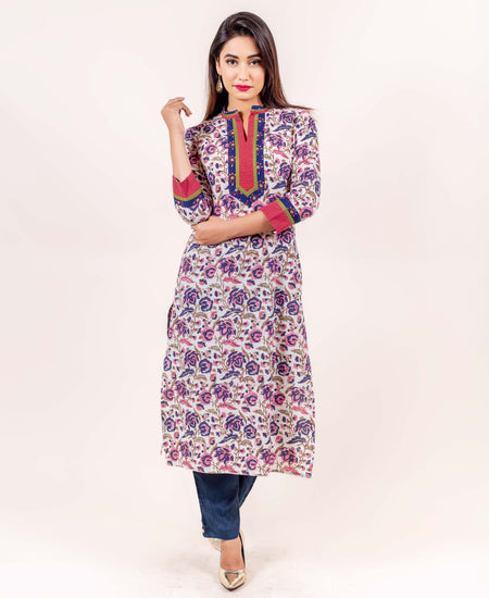 Hand Embroidered Cotton Kurta Set with Ikat Jacket