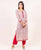Pink and White Straight Cut Block Printed Kurta