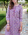Purple and Red Hand Block Printed Straight Kurta