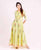 Lime Hand Block Printed Floor Length Indowestern Dress