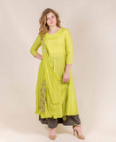 Lime and Beige Embroided Kurta with front attached Duppatta and Palazzo