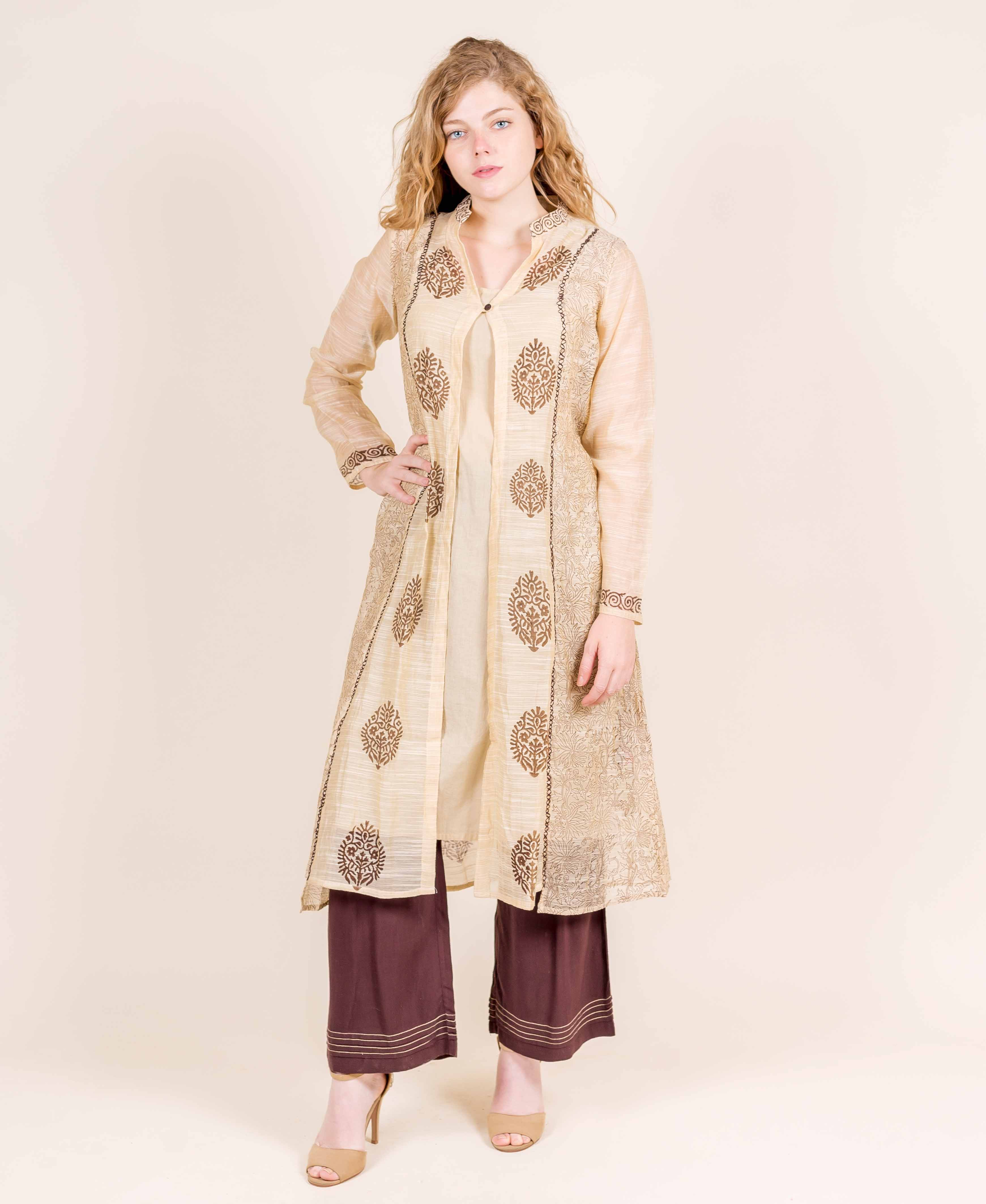 Mandarin V-Neck Jacket Style Front Open Asymmetrical Kurta With Flared Palazzos