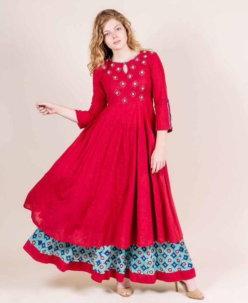 Maroon Long Indo Western Kurta with Aqua Skirt online for women