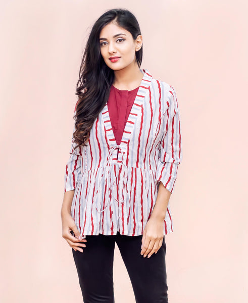 Maroon and White Cotton Hand Block Printed Tops for women online india