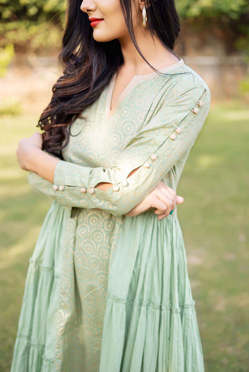 Mint Green and Golden Hand Block Printed Tiered Style Kurta Set for Women