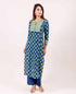 Mint Green and Indigo Straight Cut Kurta with Palazzo