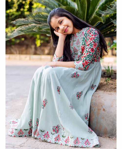 Mint Hand Block Printed Anarkali Long Dress for Baby Girl