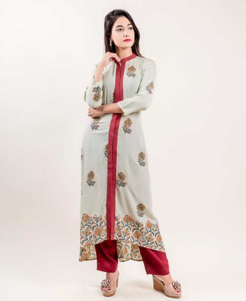 Modal Floral Stand Collar Printed Asymmetrical Long Suit with Palazzo
