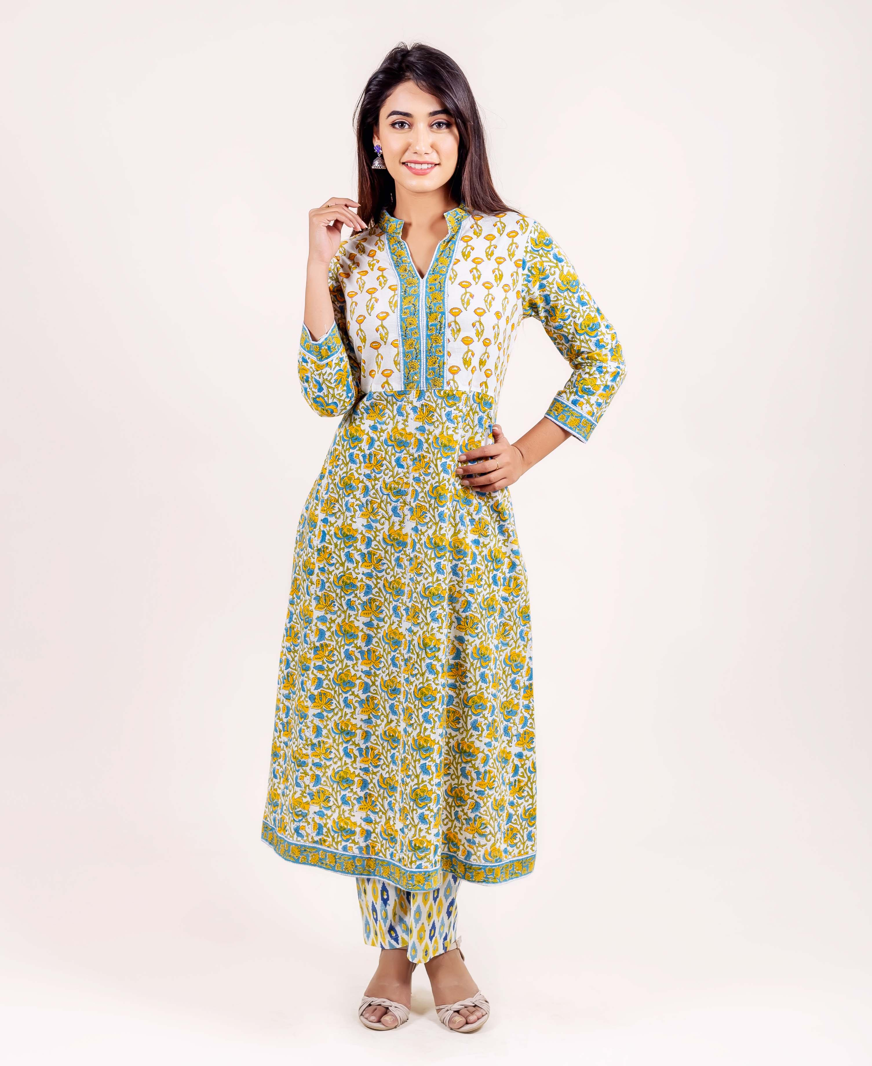 Multi Printed A Line Kurta with Straight Pants for ladies online